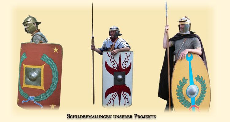 Schildbemalung unserer militärischen Projekte Legio I Germanica, Leg I Flavia Minervia Pia Fidelis und Cohors I Thracum