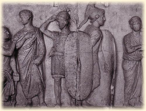 Relief von römischen Legionären